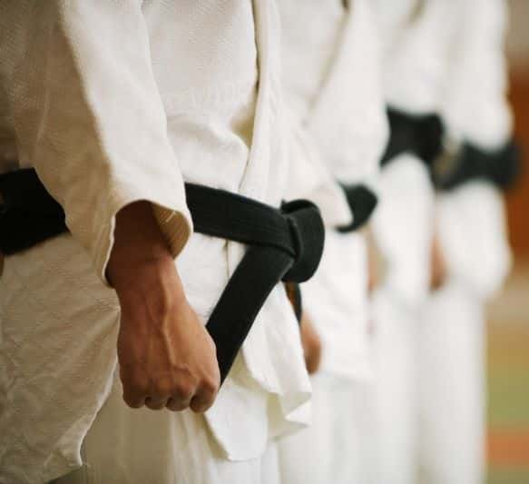 Podczas ceremonii rozpoczęcia i zakończenia treningu karatecy ustawiająsięw szeregach.