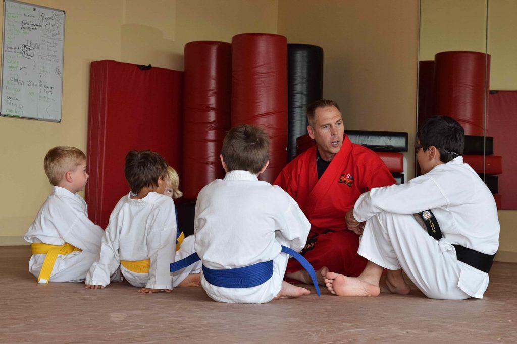 karate trainees in dojo